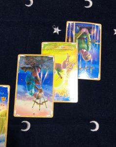 タロットカード:剣3逆位置、太陽逆位置