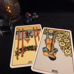 タロットカード:ワンドの4の逆位置、ペンタクルスの7の逆位置