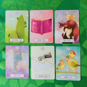 ルノルマンカード:山、本、狐、手紙、鳥