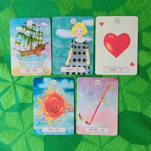 ルノルマンカード:船、子供、ハート、鎌、太陽