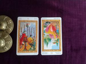 タロットカード:ワンド6、女帝逆位置