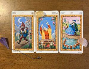 タロットカード:剣7、魔術師、カップ10