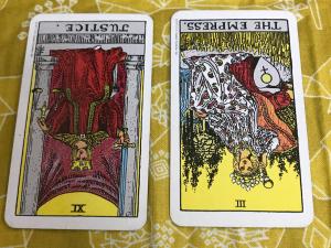 タロットカード:正義の逆位置、女神の逆位置