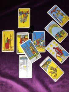 タロットカード:カップの2正位置、カップの10正位置