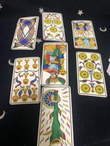 タロットカード:カップ7逆位置、カップ王逆位置、ワンドA逆位置