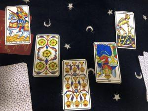 タロットカード:女帝逆位置、死神