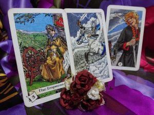 タロットカード:女帝、剣のナイト、剣の5