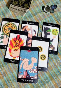 タロットカード:ペンタクルのナイト、ペンタクル3、愚者